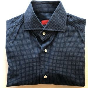 Navy Check 15x35 Spread Cutaway Collar Slim Fit